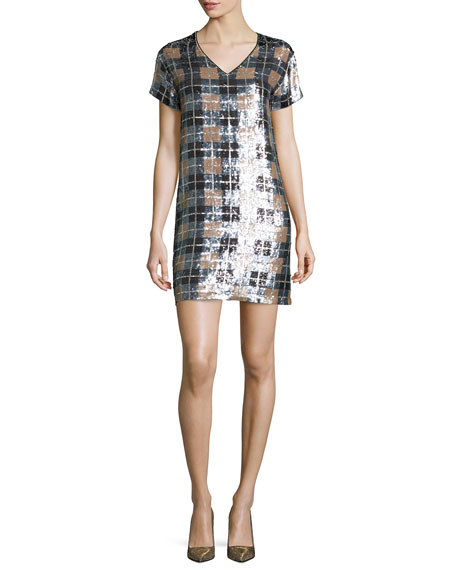 kate spade new york short-sleeve sequined plaid shift dress