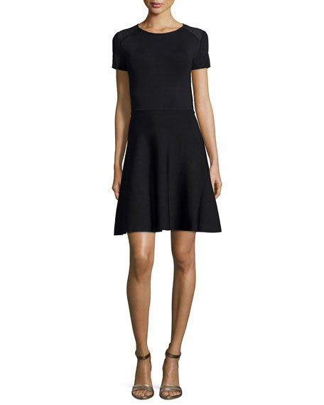 Halston Heritage Short-Sleeve Fit-&-Flare Dress, Black