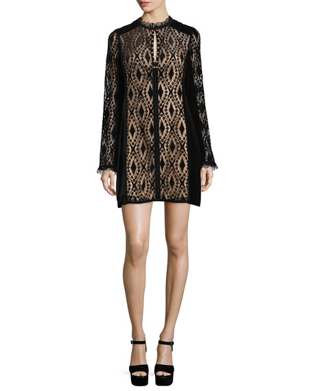 Nanette Lepore Long-Sleeve Lace Shift Dress