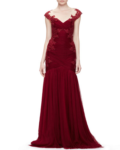 Embroidered Lace & Tulle Gown, Red