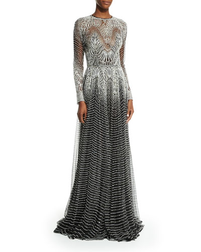 Metallic-Wave Illusion Gown, Silver/Black