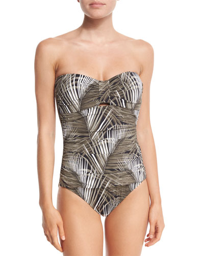 Shadow Fronds Bandeau One-Piece Swimsuit W/Shirring, Black