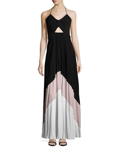 Fabi Pleated Maxi Dress W/Cutouts, Black