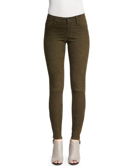 J Brand Suede Super-Skinny Pants, Camo