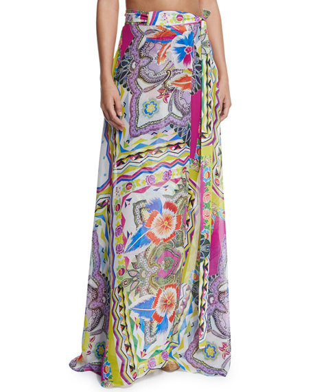Etro Floral-Printed Long Wrap Skirt