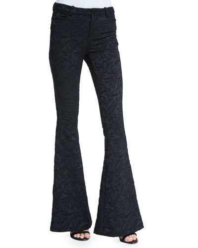 Floral Five-Pocket Bell-Bottom Pants, Black