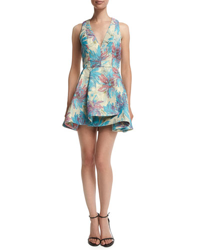 Tanner Floral V-Neck Dress, Multicolor