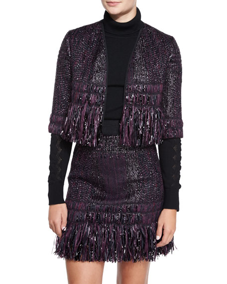 Milly Couture Tweed Bolero With Tiered Fringe Trim