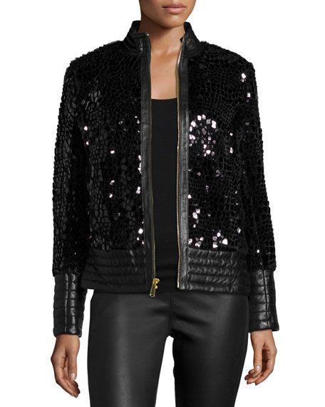 Neiman Marcus Spangled Faux-Fur Leather-Trim Jacket
