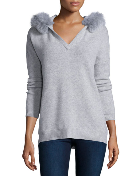 Magaschoni Hooded Fox-Fur Trim Cashmere Sweater