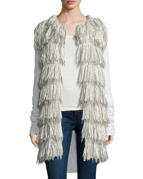 Tess Giberson for Neiman Marcus Cashmere Collection Long Fringe Cardigan W/ ...