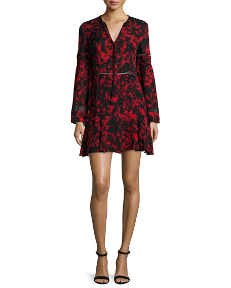 Parker Milly Long-Sleeve Mini Dress, Poinsettia Garland
