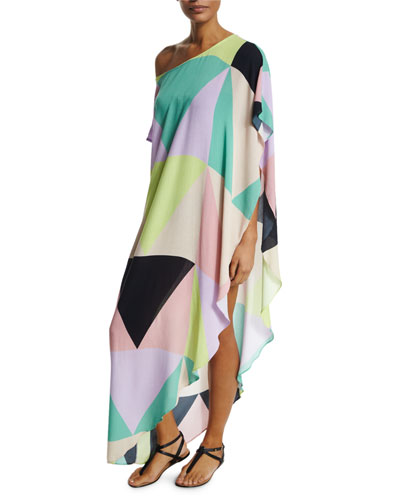 Mosaic Abstract-Print One-Shoulder Coverup
