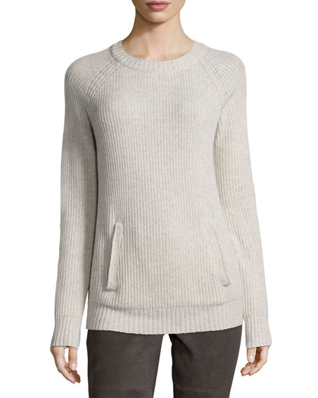 Neiman Marcus Long-Sleeve Ribbed Kangaroo-Pocket Pullover