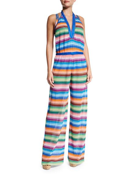 Missoni Mare Striped Halter-Neck Jumpsuit Coverup
