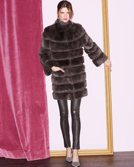 Horizontal Ribbed Rex Rabbit Fur Coat