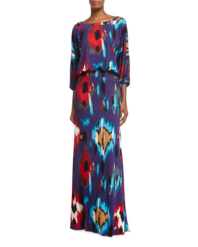 Aurora 3/4-Sleeve Ikat-Print Maxi Dress