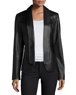 Fold-Front Leather Jacket