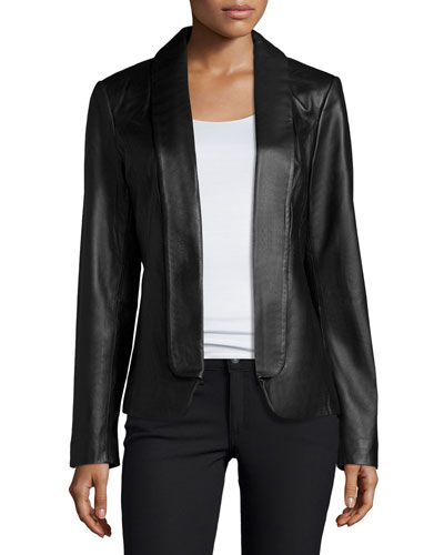 Fold-Front Leather Jacket