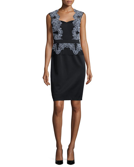 Aidan Mattox Sweetheart Lace Combo Cocktail Dress