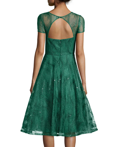 Feather-Lace Open-Back Party Dress