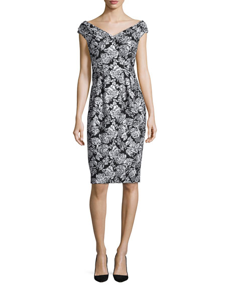 Kay Unger New York Cap-Sleeve Floral Jacquard Sheath Dress