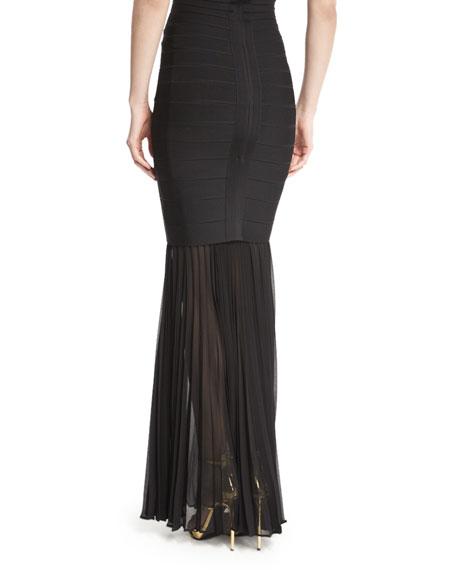 Sheer Pleated Georgette Skirt Extension, Black