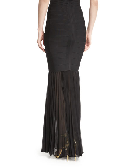 herve leger sheer pleated georgette skirt extension black