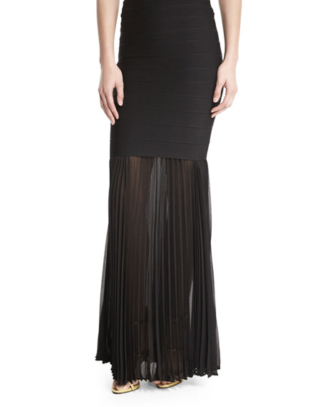 Herve Leger Sheer Pleated Georgette Skirt Extension, Black