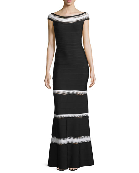 Herve Leger Crocheted Bateau-Neck Bandage Gown, Black