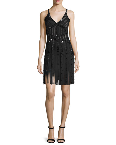 Herve Leger Fringe-Hem Embellished Knit Bandage Dress, Black