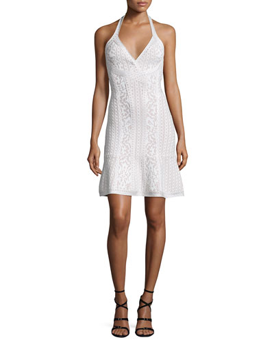 Flared Knit Jacquard Halter Dress, Alabaster Combo