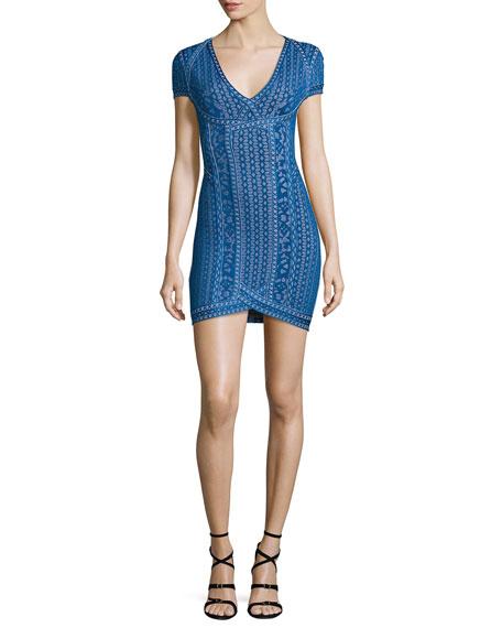 Herve Leger Cap-Sleeve V-Neck Jacquard Dress, Lapis Blue