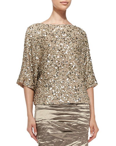 3/4-Sleeve Seashell Sequin Top