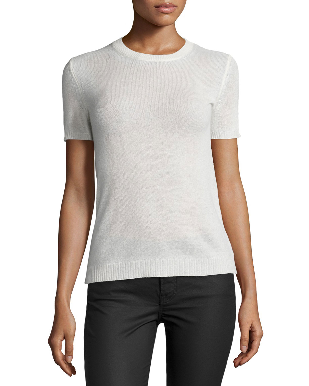 c1efef1d2af Theory Tolleree B Short-Sleeve Cashmere Sweater | Neiman Marcus