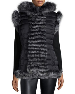 Reversible Fur-Trim Vest with Hood