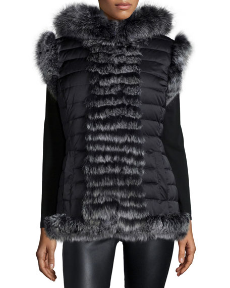 Reversible Fur-Trim Vest with Hood
