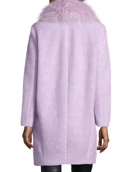 Oversized Collar Fur Coat, Lilac