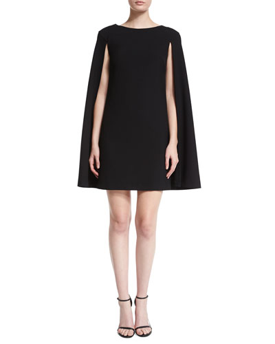 Geometric-Print Cape-Style Shift Dress