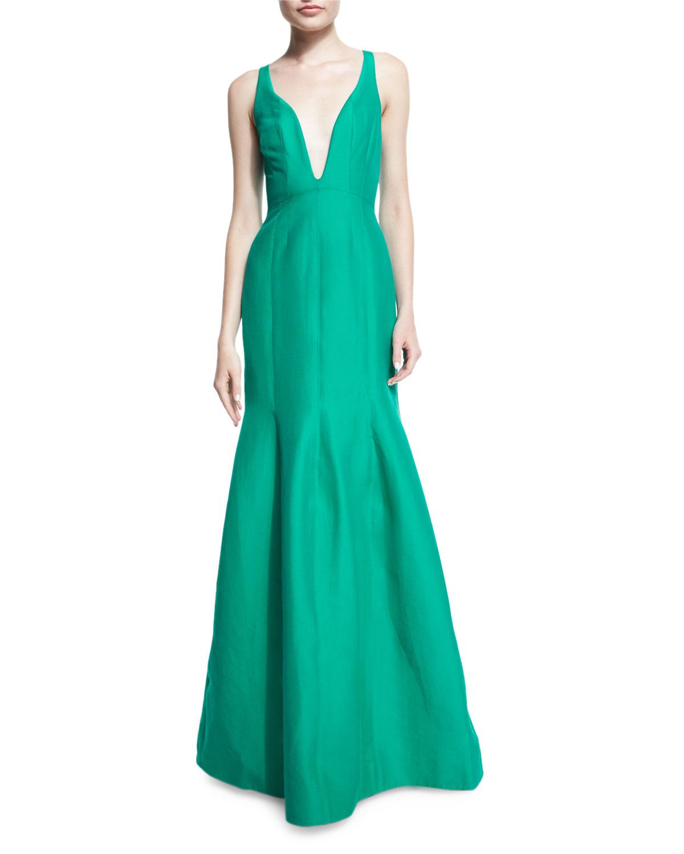 Halston Heritage Sleeveless Plunge-Neck Tulip Gown | Neiman Marcus