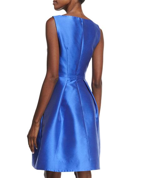 Sleeveless Fit-&-Flare Dress, Cobalt