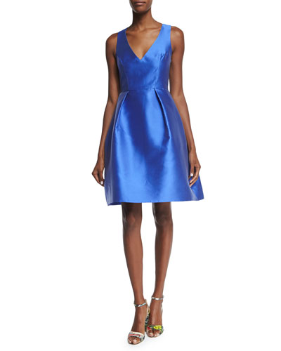 Sleeveless Fit-&-Flare Dress, Cobalt