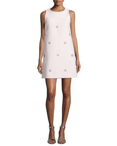 sleeveless beaded shift dress