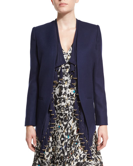 Foundrae Blazer with Fringe Trim, Navy