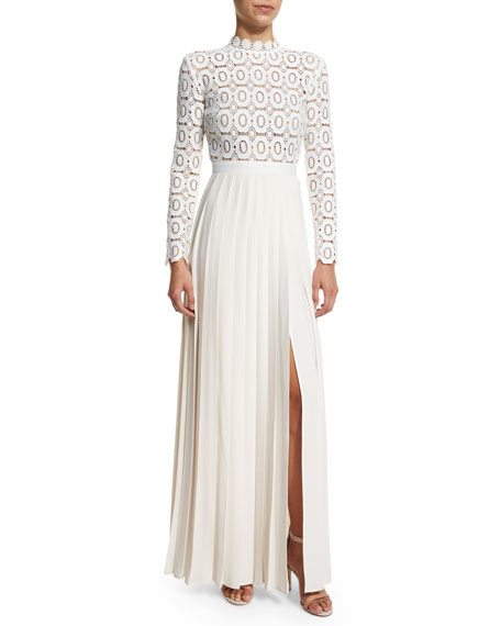 Self-Portrait Long-Sleeve Lace & Crepe Dress, Off White