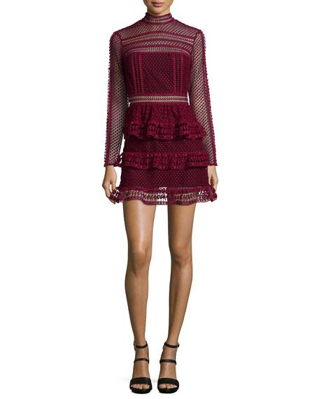 Self-Portrait Long-Sleeve Tiered Lace Dress, Dark Maroon