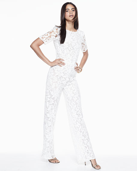 Image 2 of 5: Kendra Floral-Lace Jumpsuit, White