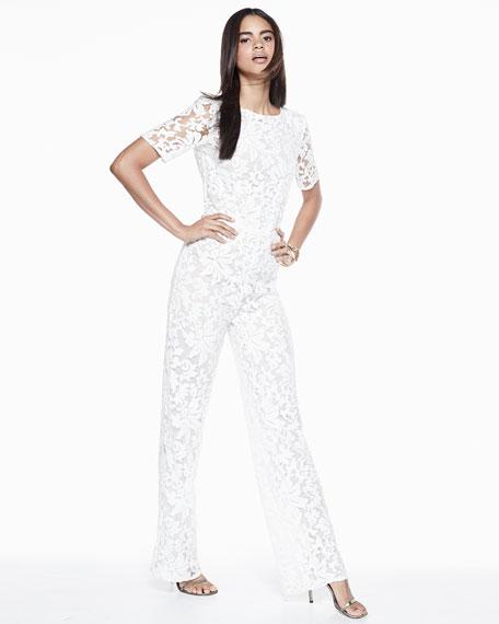 Kendra Floral-Lace Jumpsuit, White