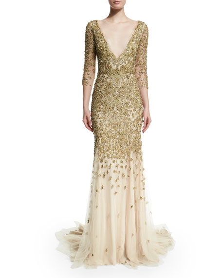 3/4-Sleeve Crystal-Embellished Gown, Gold