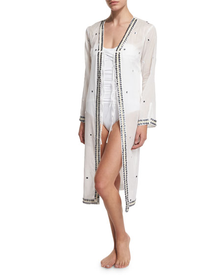 Letarte Bandana Tie-Front Kimono Coverup
